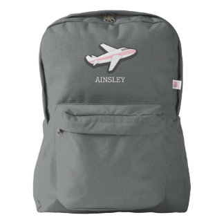 Pink Airplane Personalized Backpack