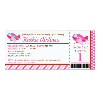 Pink Airplane Ticket Birthday Party Invitation