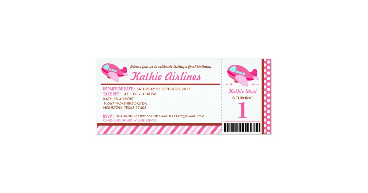 Pink Airplane Ticket Birthday Party Invitation Zazzle Com