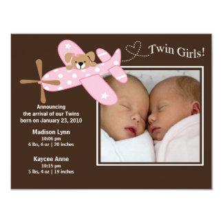 Pink Airplane Twin Girls Birth Annoucement Card
