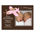 Pink Airplane Twin Girls Birth Annoucement Invitations