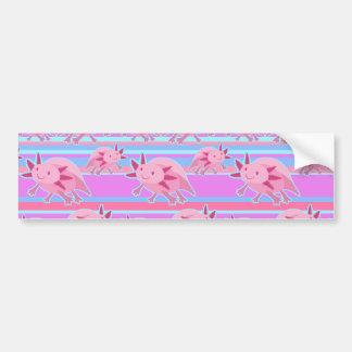 Pink Albino Axolotl Pattern Bumper Sticker