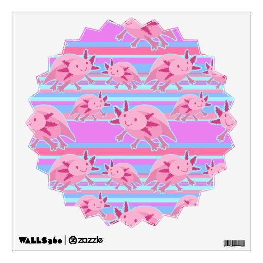 Pink Albino Axolotl Pattern Wall Decal