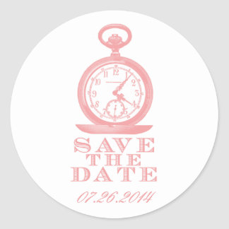 Pink Alice in Wonderland Save the Date Stickers