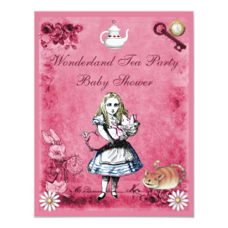 Pink Alice in Wonderland Tea Party Baby Shower 4.25x5.5 Paper Invitation Card