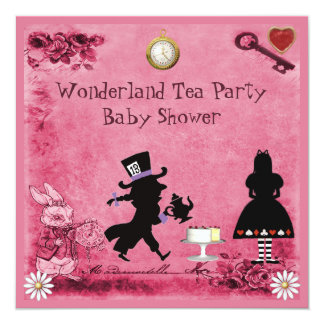 Pink Alice in Wonderland Tea Party Baby Shower Card