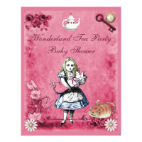 Pink Alice in Wonderland Tea Party Baby Shower Personalized Invitation