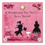 Pink Alice in Wonderland Tea Party Baby Shower Invitation