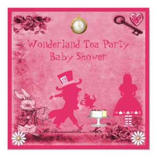 Pink Alice in Wonderland Tea Party Baby Shower 5.25x5.25 Square Paper Invitation Card