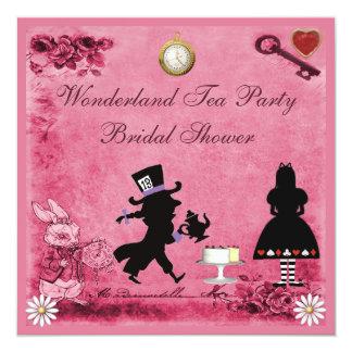 Pink Alice in Wonderland Tea Party Bridal Shower 5.25x5.25 Square Paper Invitation Card