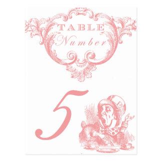 Pink Alice in Wonderland Wedding Table Numbers Postcard