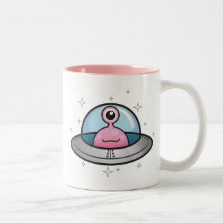 Pink Alien in Spaceship Mug