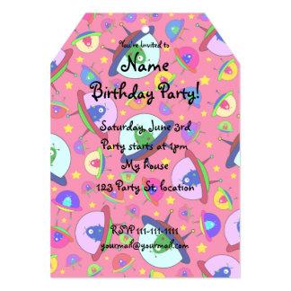 Pink alien spaceship pattern 5x7 paper invitation card