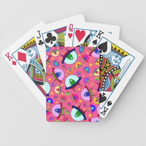Pink alien spaceship pattern playing cards