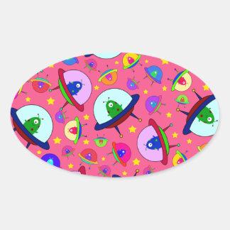 Pink alien spaceship pattern stickers