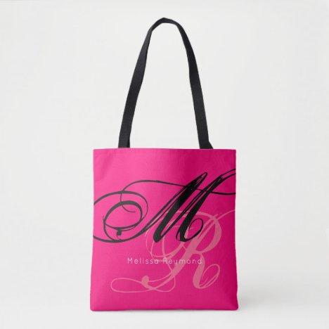 pink all-over-print monogram tote bag