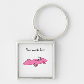 Pink alligator Silver-Colored square keychain