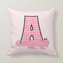 "Pink Alligator Kid's Monogrammed ""A"" Throw Pillow"