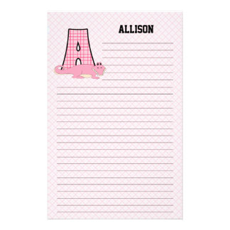 Pink Alligator | Monogram A | Custom Lined Kid's Stationery