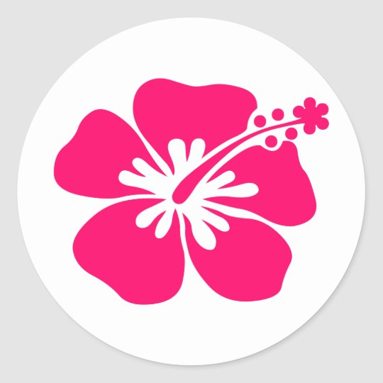 pink aloha flower classic round sticker