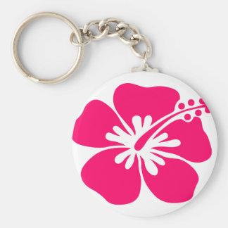 pink aloha flower keychain