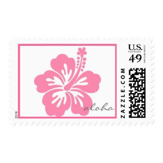 Pink aloha hibiscus postage