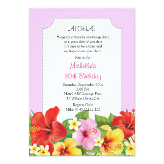 Pink Aloha Luau Birthday Party Card