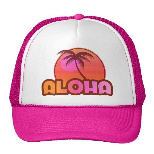 Pink Aloha Palm Trucker Hats