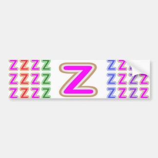 Pink ALPHABET Z ZZ ZZZ Car Bumper Sticker