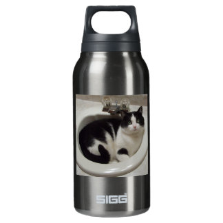 Pink aluminum with cat insulated water bottle