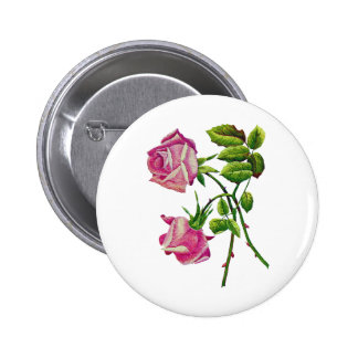 Pink American Beauty Roses in Embroidery Pinback Button