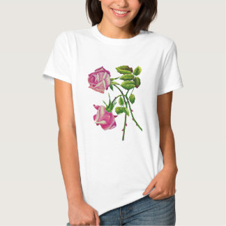 Pink American Beauty Roses in Embroidery Shirt