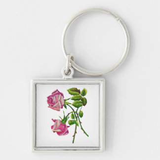 Pink American Beauty Roses in Embroidery Silver-Colored Square Keychain