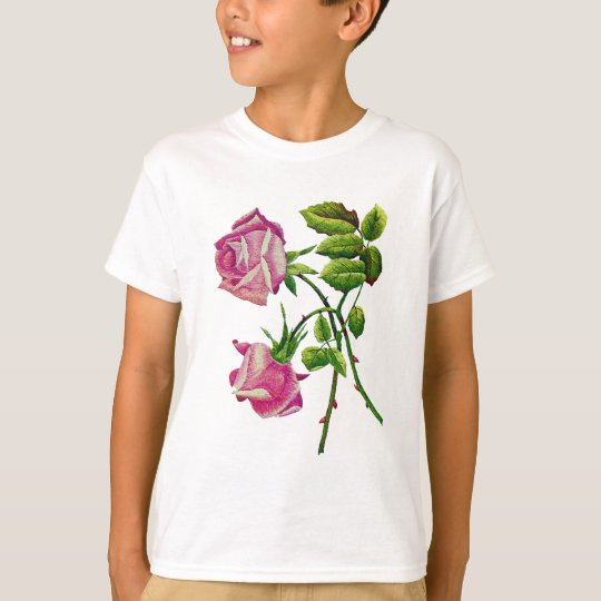 Pink American Beauty Roses in Embroidery T-Shirt