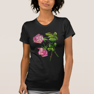 Pink American Beauty Roses in Embroidery T-shirts