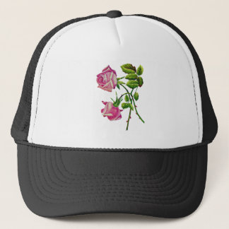 Pink American Beauty Roses in Embroidery Trucker Hat