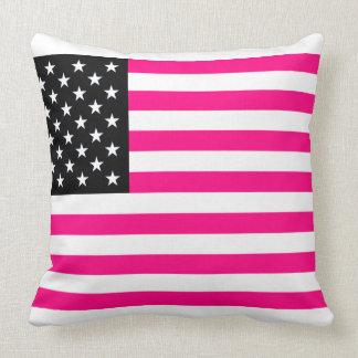 pink american flag pillow