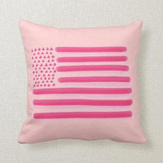 Pink American flag stars stripes decorative pillow