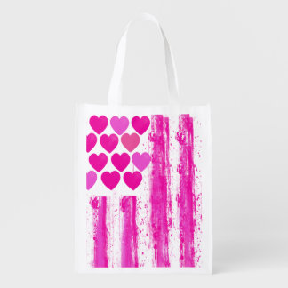 pink american flag,united states flag grocery bags