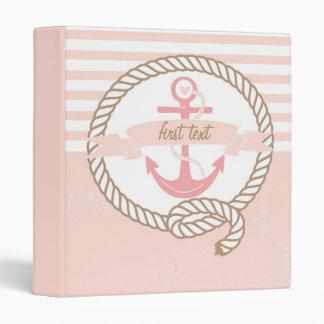 Pink Anchor and Banner Nautical Custom Binder