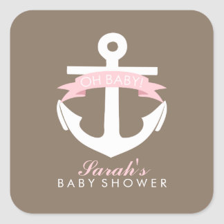 Pink Anchor and Ribbon Baby Shower Square Sticker