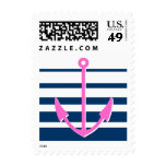 Pink anchor aweigh stamps | Nautical theme