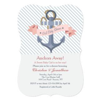 Pink Anchor Banner Baby Shower Invitation