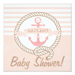 Pink Anchor Banner Nautical Baby Shower Invitation
