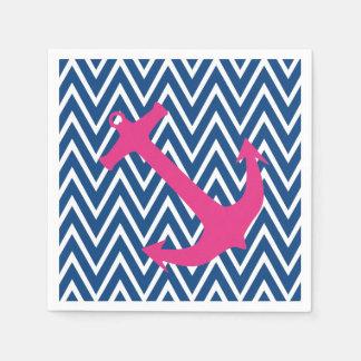 Pink Anchor & Blue Chevron Zigzag Pattern Napkins