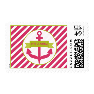 Pink Anchor & Diagonal Stripes Baby Shower Postage