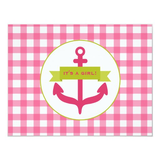 Pink Anchor & Gingham Baby Shower 4.25x5.5 Paper Invitation Card