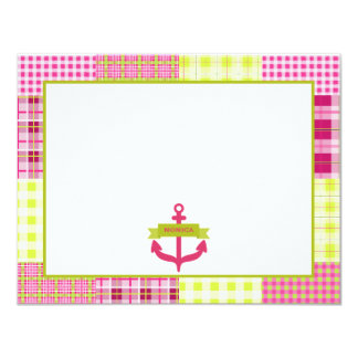 Pink Anchor Madras Inspired Plaid Flat Notecard