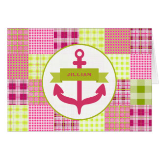 Pink Anchor Madras Inspired Plaid Notecard