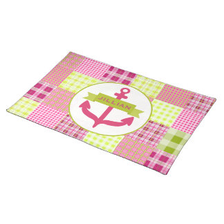 Pink Anchor & Madras Inspired Plaid Place mat Cloth Placemat